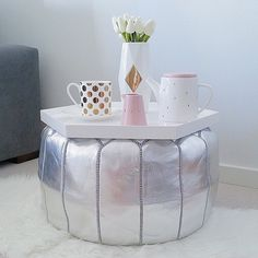 Got a kick out of seeing how @sophia_c83 styled our #moroccanpouf in her beautiful home! A statement piece with many uses, the poufs come in silver, gold, blush + white and will be coming soon to #acupofchicshop (yes, the wait is killing us too!). #staytuned #comingsoon #moroccan #homewares #styling #home