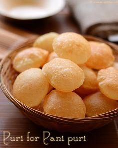 Puri for pani puri and other chaats Crispy puffed puri for indian chaat recipes with step by step pictures! Using plain soda gives crisp and puffy puris. Puri Recipes, Veg Recipes, Indian Food Recipes, Snack Recipes, Cooking Recipes, Flour Recipes, Easy Recipes, Dessert Recipes, Pani Puri Recipe
