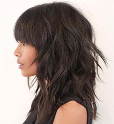 Brunette Shag With Straight Bangs