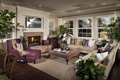 Plan 7 Living Room at Brightwater in Huntington Beach, CA #newhomes #Seaglass