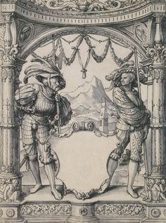 Artist: Holbein d. J., Hans, Title: Design for a Stained Glass Window with Two Swiss Mercenaries, Date: ca. 1525
