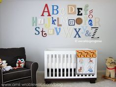 Every nursery with a literary theme has to have an alphabet.  See my Buy Me! Board to see how to alter this idea to be more vintage.