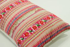 "RARE VINTAGE Handmade Boho Bohemian ikat Aztec Textile Hmong Embroidered Ethnic Made Tradition Costume Pink Lumbar Pillow Case 12"" x 20"""