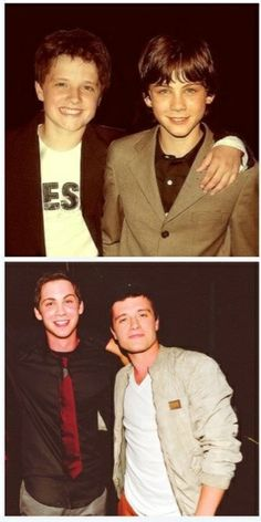 Logan Lerman and Josh Hutcherson then and now. THEY WERE SO ADORABLE.