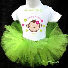 birthday girl mod monkey baby first 1st outfit set name lime green tutu shirt | eBay