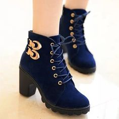 Fashion Lace Up Round Toe Thick Heel Ankle Boots Booties High Heel Boots, Heeled Boots, Bootie Boots, Ankle Boots, Fancy Shoes, Trendy Shoes, Fashion Boots, Sneakers Fashion, Style Fashion