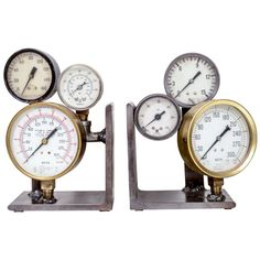 View this item and discover similar for sale at - Pair of custom made bookends composed of vintage industrial pressure gauges on steel bases. Industrial Bookends, Modern Bookends, Vintage Industrial, Pressure Gauge, Gauges, Book Worms, Home Goods, Antiques, Libraries