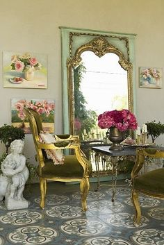 """Beautiful French Inspired """"Garden"""" Space! Decor Ideas and More! See thefrenchinspiredroom.com"""