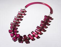 Judith Hendler Necklace - Modernist Runway Lucite Necklace - Magenta Purple - Designer Chunky - Vintage Jewelry - 1980's $295.00
