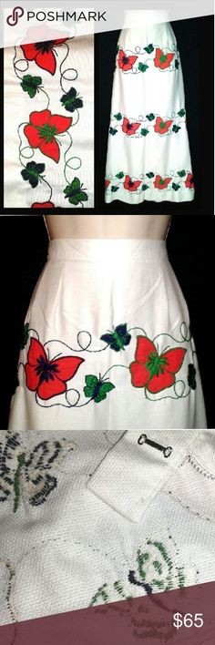 "Mod Vintage-60s Embroidered Butterfly Maxi Skirt Late-1960s-to-early-70s, flower-child, white, cotton-pique, long skirt with orange-red butterfly appliques edged in navy & green embroidery, linked to tiny navy & green embroidered butterflies. Beautiful symmetry & unique bohemian. Side, metal zipper & hook-eye. Ribbon-tape hem. OOAK/one-of-a-kind, hand-stitched & home-sewn. Waist: 31""; hips, @10"" below waist: 42""; length: 40"". I find 1, small, navy butterfly near hem missing stitches only. A…"