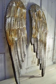 Angel wings large wood carved wall sculpture