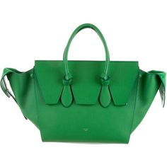 Pre-owned C�line Small Tie Tote ($2,500) ❤ liked on Polyvore featuring bags, handbags, tote bags, green, handbags totes, leather tote, leather zip tote, leather hand bags and green leather handbag