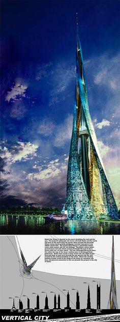 Concept, Dubai City Tower, 2500 meters high: