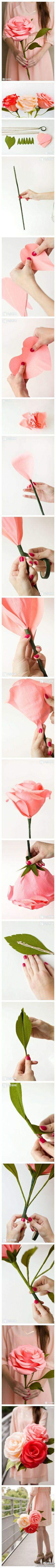 教你手工制作巨型纸玫瑰,很漂亮,很不错哦~(转)