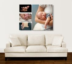 Loving this over our couch. Family of 4  photo, wedding photo, baby #1 infant photo, baby #2 infant photo