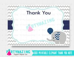 Elephant Baby Shower Thank You Navy and Grey by Partymazing