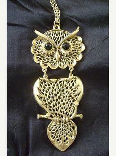 Huge Vintage Owl Pendant Necklace Boho by PopcornVintageByTann