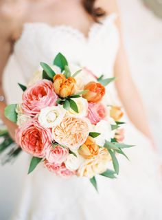 Pink and peach bouquet: http://www.stylemepretty.com/2014/11/20/colorful-summer-wedding-at-the-villa-san-juan/ | Photography: Ray Kang - http://raykang.com/