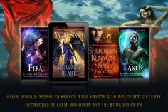 Welcome to the Nalini Singh & Sherrilyn Kenyon $100 Amazon GC & Boxed Set Giveaway. Enter for a chance to win a copy ofArchangel's Heart (A Guild Hunter Novel),Night Pleasures (Dark-Hunter Novels Book 1),and a Feral and Taken boxed set. This giveaway is sponsored by New York Times Bestselling author, Laxmi Hariharan.
