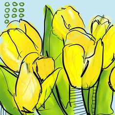 Yellow Tulips - Flowerly Abstracts - Square Art - Wall Art Prints - Digital Downloadable Prints #Yellow #Square #Tulips Printing Services, Online Printing, Wall Art Prints, Fine Art Prints, Square Art, Yellow Tulips, Types Of Printer, Home Printers, Landscape Art