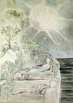 Dante and Statius Sleeping, Virgil Watching,by William Blake (18th century)