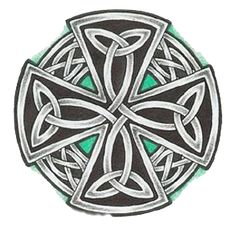 celtic cross tattoo - I like the subtle turquoise accents