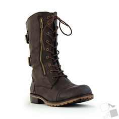LUG12 Women Military Boot Distress Brown ($33)