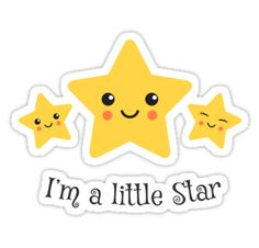 I'm a little star, cute stickers with kawaii style stars.