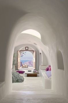 white washed hallway, villa in Greece