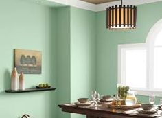 """""""Mint Sprig"""" by Glidden is a soft mint color that actually works as a neutral, complementing many different color palettes. Recommended for gallery walls."""