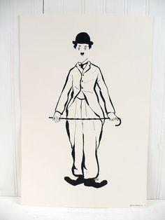 Vintage Charlie Chaplin ilustra el cartel grabado número 5 comprenden 1972 1970s