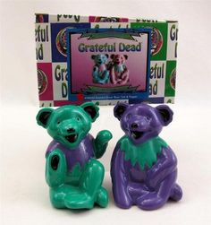 Grateful Dead Salt & Pepper Shaker Set by Vandor Dancing Bears Green Purple