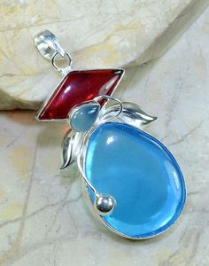 Blue Agate Garnet Chalcedony Pendant.