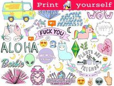Printable Sticker Paper, Vinyl Sticker Paper, Sticker Shop, Magic Illusions, Moon Plant, Plum Paper, Tumblr Stickers, Erin Condren Life Planner, Easy Drawings