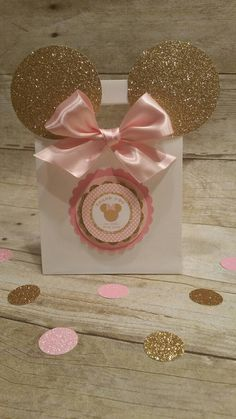 Pink and gold Minnie Mouse bagsGold Minnie by HeidiPartyCreations