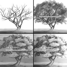 How to draw a tree step 2: a tree can be drawn in three layers: one for the background leaves, one for the middle ground trunk, and one for the foreground leaves. Use a texture brush set to splatter for the leaves.