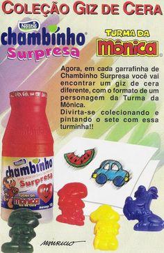 Chambinho Surpresa com giz de cera da Turma da Mônica #anos90 #nostalgia #infancia