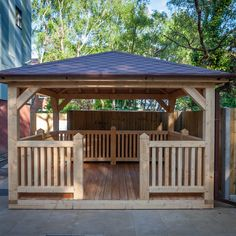 Wooden gazebo with Siberian larch floor and roof shingles. Wooden Summer House, Wooden Carports, Radiant Barrier, Wooden Gazebo, Timber Buildings, Hip Roof, Cladding, Beams, Pergola