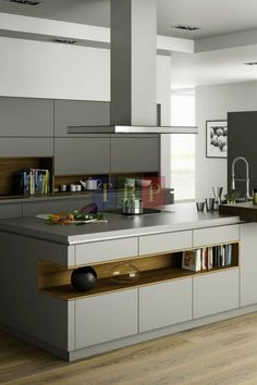 Grey kitchen ideas brings an excellent breakthrough idea in designing our kitchen. Grey kitchen color will make our kitchen look expensive and luxury. Grey Kitchen Floor, Modern Grey Kitchen, Grey Kitchen Island, Grey Kitchen Designs, Grey Kitchen Cabinets, Contemporary Kitchen Design, Grey Kitchens, Kitchen Flooring, Kitchen Furniture
