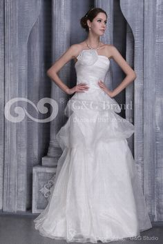 Flowers/Ruched/Draped Tulle/Satin Bal-Gown Sweep Ivory Train Zipper Natural Sleeveless Classic/Glamorous/Romantic Strapless Wedding Dress