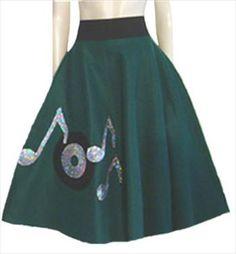 1950s Style Green Rockabilly Skirt