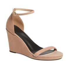 m4d3 alice wedge by M4D3 FOOTWEAR. A slim ankle strap and an angled toe strap keep the look minimal and serene on a sleek sandal lifted by a covered wedge.  #m4d3footwear #nudeshoes #wedges