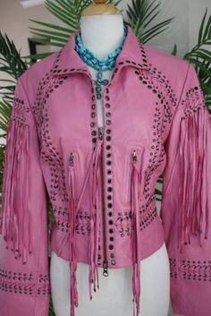 Pink studded leather jacket- Double D ranch