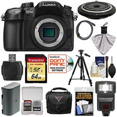 Panasonic Lumix DMC-GH4 4K Micro Four Thirds Digital Camera Body with 15mm Pancake Lens   64GB Card   Battery   Case   Tripod   Flash   Kit >>> Read more  at the image link.