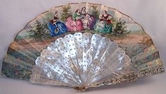 hand painted fan with Mother of Pearl