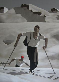 SKIFAHRER 110x150cm 2014 Acryl auf Leinwand von JosefHavelka, €4120.00