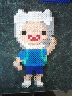 Adventure Time Finn The Human Pixel Art Perler Wall Decor  by deathpixie22