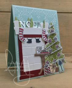 Cookies for Santa | Stampin\' Up! | Ready For Christmas | Santa\'s Suit #literallymyjoy #christmas #holiday #mantel #santa #cookies #presents #gifts #stampinblends #stockingswerehung #noel #PetalGardenDSP #WoodTexturesDSP #2017HolidayCatalog #20172018AnnualCatalog