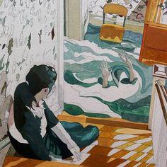 The gurgles, a beautiful rhythmic hum in her ears. 🌊  #besideyou #Thinkspaceart #thinkspacefamily #cacophony #workinprogress #painting #JoleneLai #Enelojial #art #artwork #artist #drowning #flooding #currents #macabre #Singaporeartist