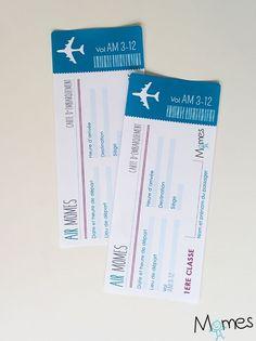 Pour jouer, pour faire un cadeau rigolo, voici un faux billet d'avion à imprimer !